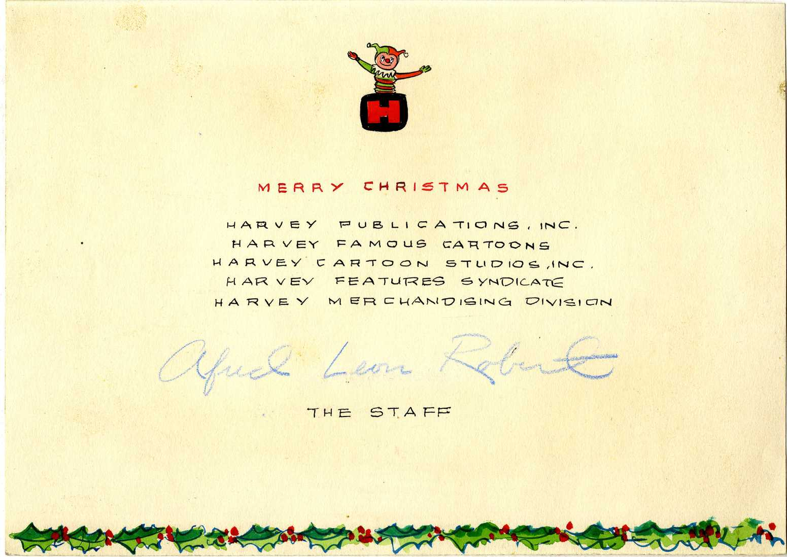 christmas card undated a space for the signatures of brothers alfred leon and robert harvey is indicated see item 6309 to view the artwork for the - Christmas Card Signatures